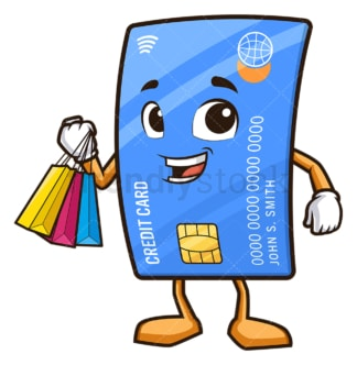 Debit card character shopping. PNG - JPG and vector EPS (infinitely scalable).