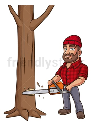 Logger cutting wood with chainsaw. PNG - JPG and vector EPS (infinitely scalable).