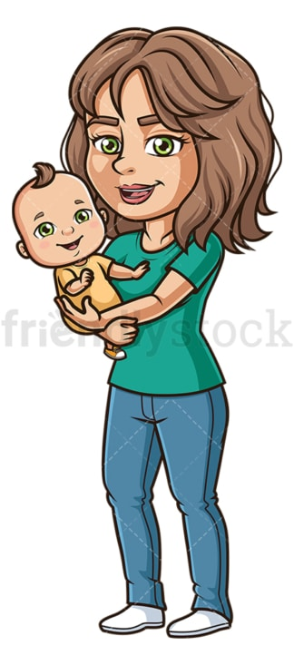 Woman holding baby. PNG - JPG and vector EPS file formats (infinitely scalable). Image isolated on transparent background.