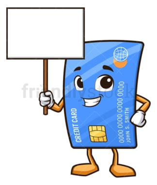 Credit card holding blank sign. PNG - JPG and vector EPS (infinitely scalable).