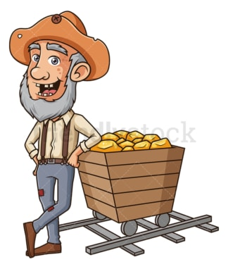 Gold miner leaning on mining cart. PNG - JPG and vector EPS (infinitely scalable).