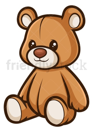 Seated teddy bear. PNG - JPG and vector EPS file formats (infinitely scalable). Image isolated on transparent background.
