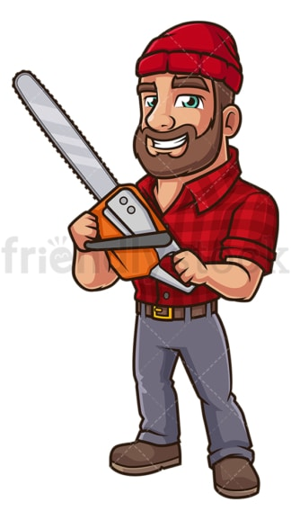 Wood cutter with chainsaw. PNG - JPG and vector EPS (infinitely scalable).