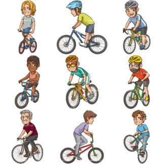 Men riding bikes clipart bundle. PNG - JPG and infinitely scalable vector EPS - on white or transparent background.