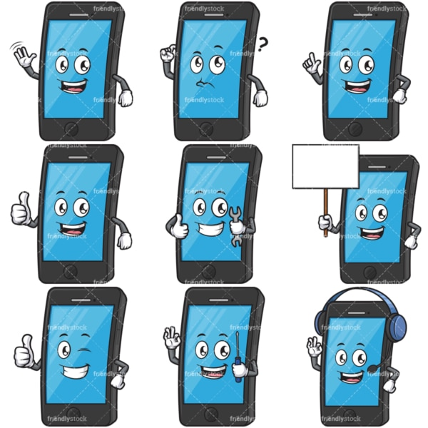 Mobile phone character cartoon mascot bundle. PNG - JPG and infinitely scalable vector EPS - on white or transparent background.