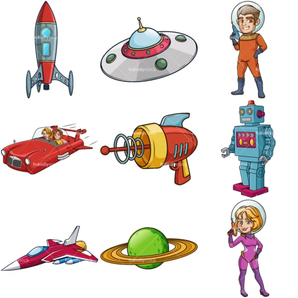Retro sci-fi clipart collection. PNG - JPG and infinitely scalable vector EPS - on white or transparent background.