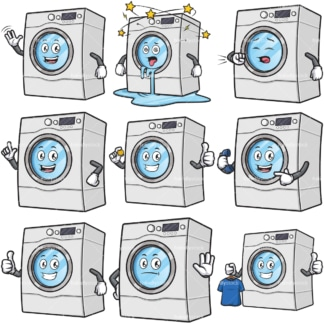 Washing machine character cartoon mascot bundle. PNG - JPG and infinitely scalable vector EPS - on white or transparent background.