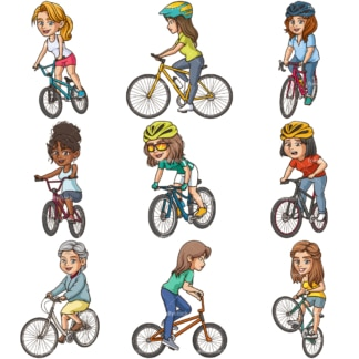 Women riding bikes clipart bundle. PNG - JPG and infinitely scalable vector EPS - on white or transparent background.