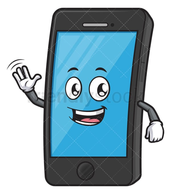 Friendly mobile phone waving. PNG - JPG and vector EPS (infinitely scalable).