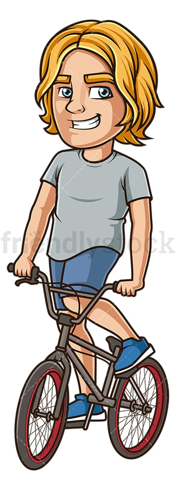 Young man riding bmx bike. PNG - JPG and vector EPS (infinitely scalable).