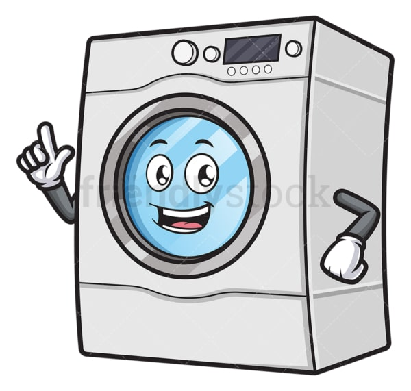 Happy washer pointing up. PNG - JPG and vector EPS (infinitely scalable).