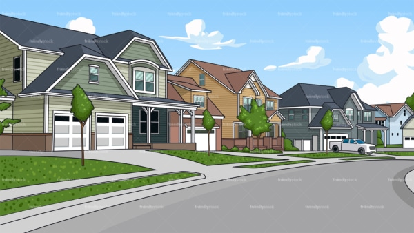 Suburban neighborhood background in 16:9 aspect ratio. PNG - JPG and vector EPS file formats (infinitely scalable).