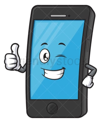Cell phone character winking. PNG - JPG and vector EPS (infinitely scalable).