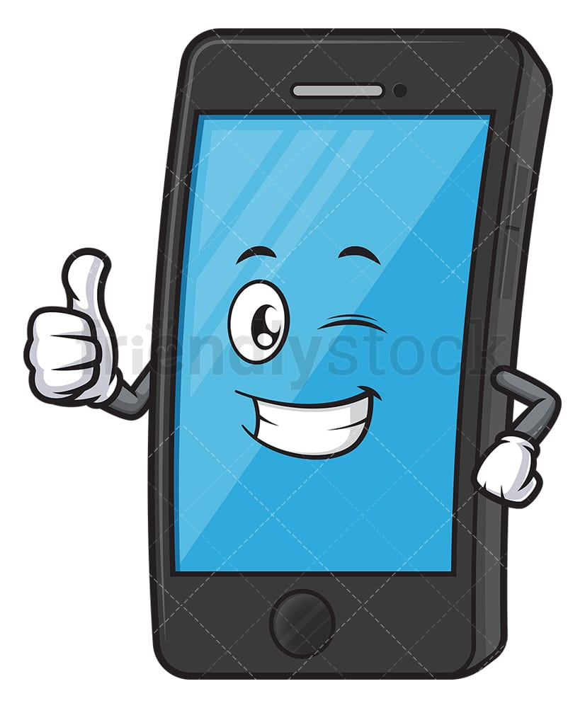 Cell Phone Character Winking Cartoon Clipart Vector Friendlystock
