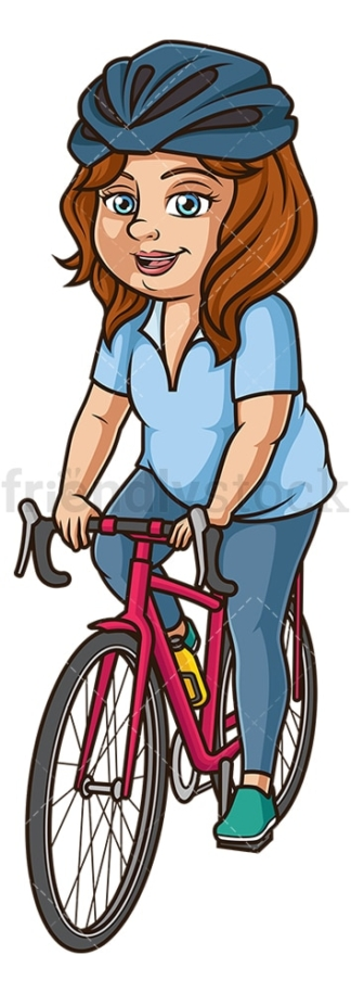 Chubby woman on mountain bike. PNG - JPG and vector EPS (infinitely scalable).