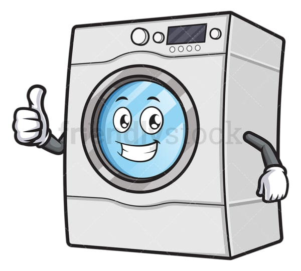 Washing machine mascot thumbs up. PNG - JPG and vector EPS (infinitely scalable).