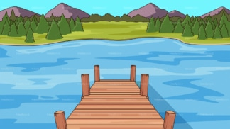 Wooden deck on lake background in 16:9 aspect ratio. PNG - JPG and vector EPS file formats (infinitely scalable).