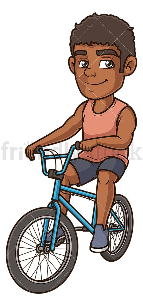 Black man on bmx bike. PNG - JPG and vector EPS (infinitely scalable).