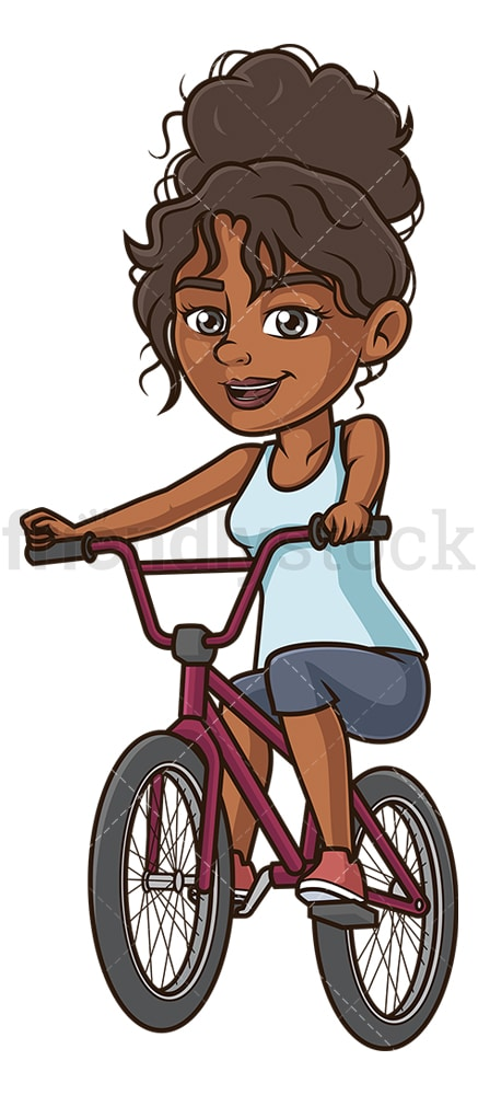 Black woman on bmx bike. PNG - JPG and vector EPS (infinitely scalable).