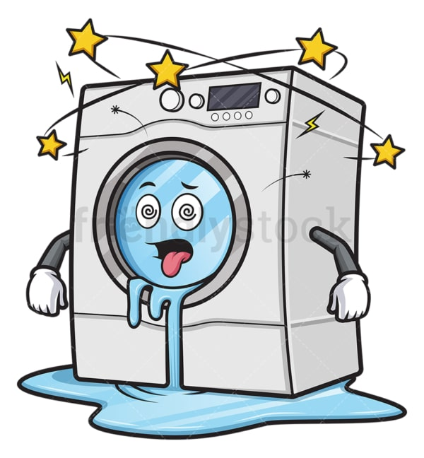 Broken leaking washing machine. PNG - JPG and vector EPS (infinitely scalable).