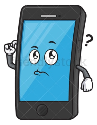 Confused cellphone character. PNG - JPG and vector EPS (infinitely scalable).