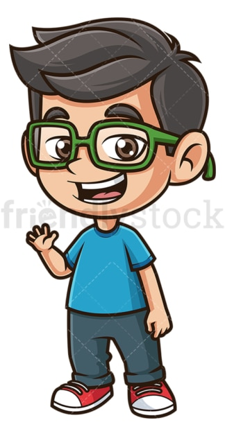 Happy boy with glasses waving. PNG - JPG and vector EPS (infinitely scalable).