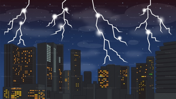 Lightning storm over city background in 16:9 aspect ratio. PNG - JPG and vector EPS file formats (infinitely scalable).