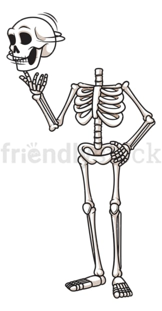 Funny skeleton twirling skull. PNG - JPG and vector EPS (infinitely scalable).