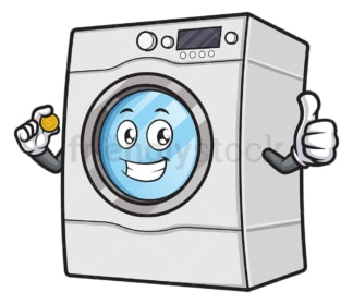 Washing machine holding coin. PNG - JPG and vector EPS (infinitely scalable).