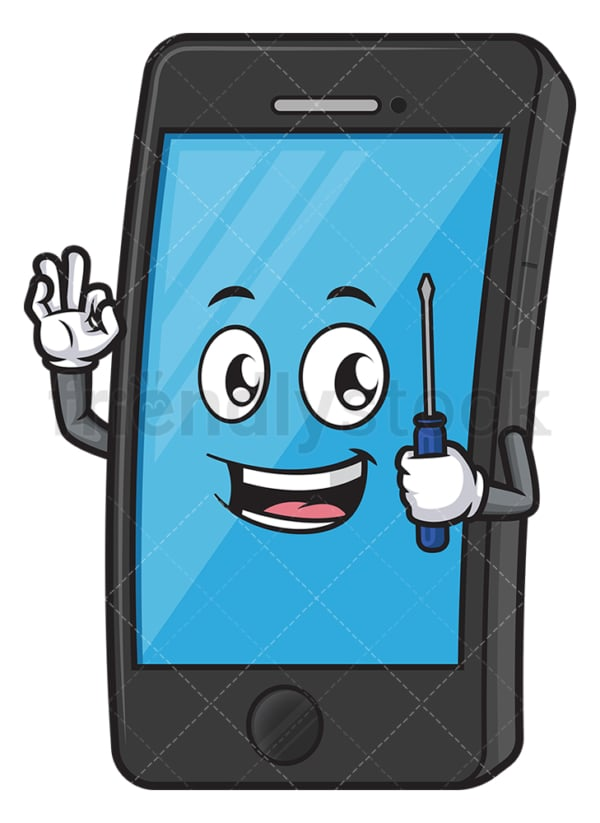 Cell phone holding screwdriver. PNG - JPG and vector EPS (infinitely scalable).