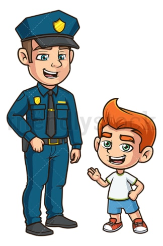 Kid talking to policeman. PNG - JPG and vector EPS (infinitely scalable).
