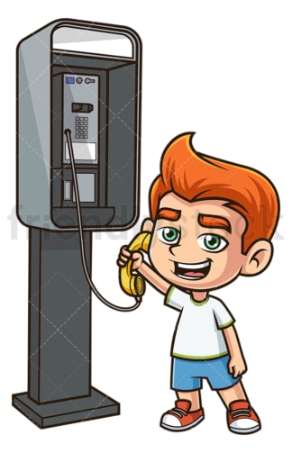 Boy calling from phone booth. PNG - JPG and vector EPS (infinitely scalable).