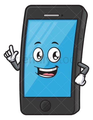 Cellular phone mascot presenting. PNG - JPG and vector EPS (infinitely scalable).