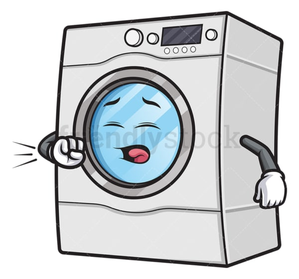 Coughing washing machine. PNG - JPG and vector EPS (infinitely scalable).
