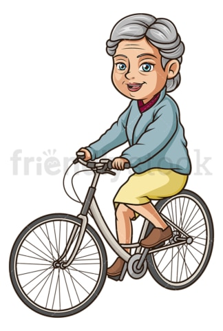 Old woman riding vintage bicycle. PNG - JPG and vector EPS (infinitely scalable).