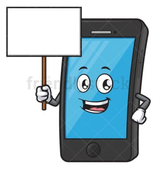 Cell phone mascot holding blank sign. PNG - JPG and vector EPS (infinitely scalable).