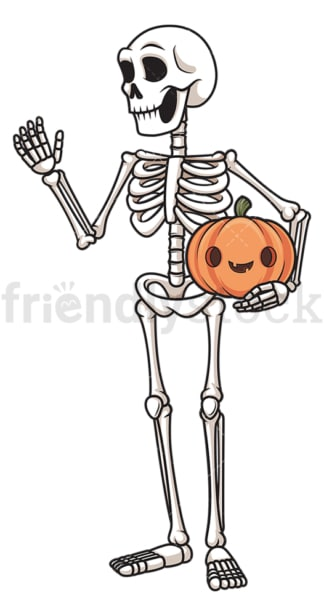 Skeleton holding jack-o-lantern. PNG - JPG and vector EPS (infinitely scalable).
