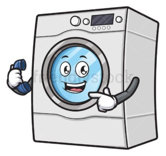 Washing machine holding telephone. PNG - JPG and vector EPS (infinitely scalable).