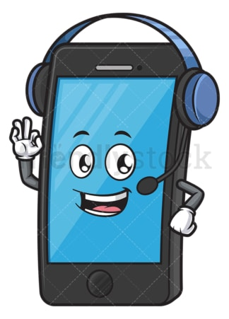 Mobile phone character with headset. PNG - JPG and vector EPS (infinitely scalable).