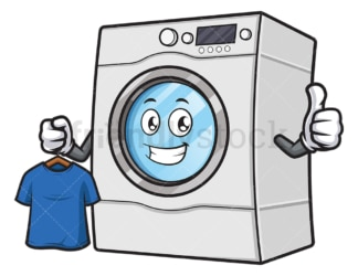 Washing machine holding clean t-shirt. PNG - JPG and vector EPS (infinitely scalable).