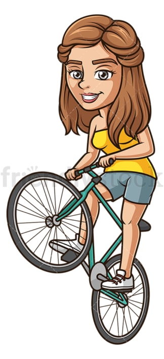 Woman wheeling a bike. PNG - JPG and vector EPS (infinitely scalable).
