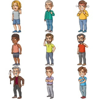 Angry men clipart bundle. PNG - JPG and infinitely scalable vector EPS - on white or transparent background.