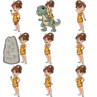 Cave woman cartoon character bundle 3. PNG - JPG and infinitely scalable vector EPS - on white or transparent background.