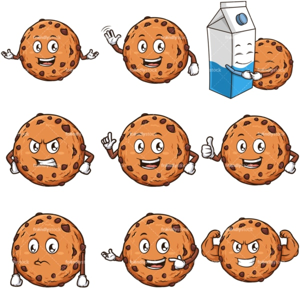 Chocolate chip cookie character. PNG - JPG and infinitely scalable vector EPS - on white or transparent background.
