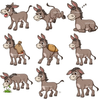 Cute donkey clipart bundle. PNG - JPG and infinitely scalable vector EPS - on white or transparent background.