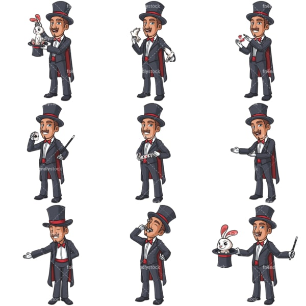 Male magician clipart bundle. PNG - JPG and infinitely scalable vector EPS - on white or transparent background.