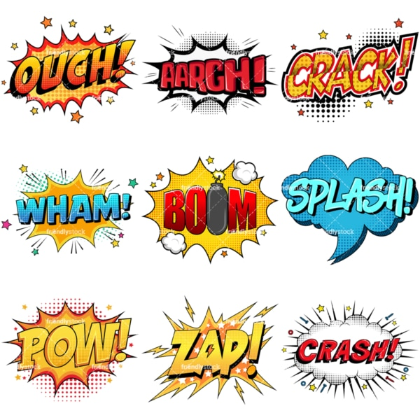 Retro comic book sound effects. PNG - JPG and infinitely scalable vector EPS - on white or transparent background.