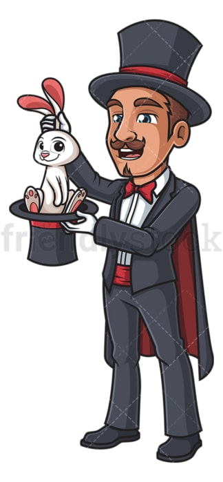 Magician getting bunny out of hat. PNG - JPG and vector EPS (infinitely scalable).