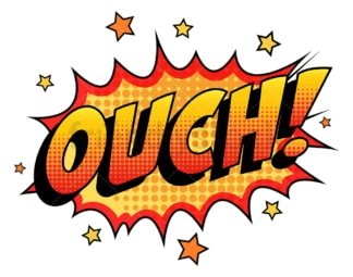 Ouch retro comic book sound effect. PNG - JPG and vector EPS (infinitely scalable).