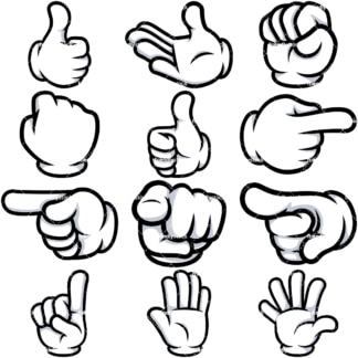 Cartoon gloved hands clipart bundle. PNG - JPG and vector EPS file formats (infinitely scalable). Image isolated on transparent background.